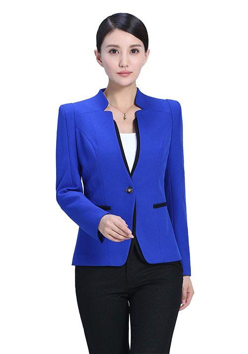 蓝色拼接女西服