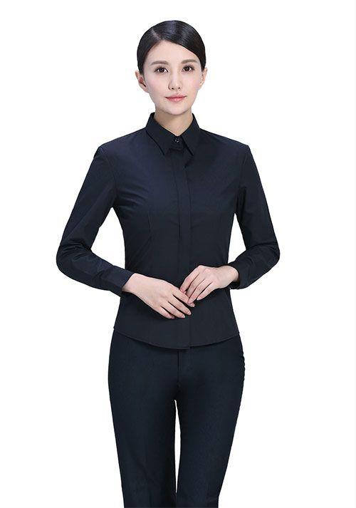 深蓝纯棉衬衫